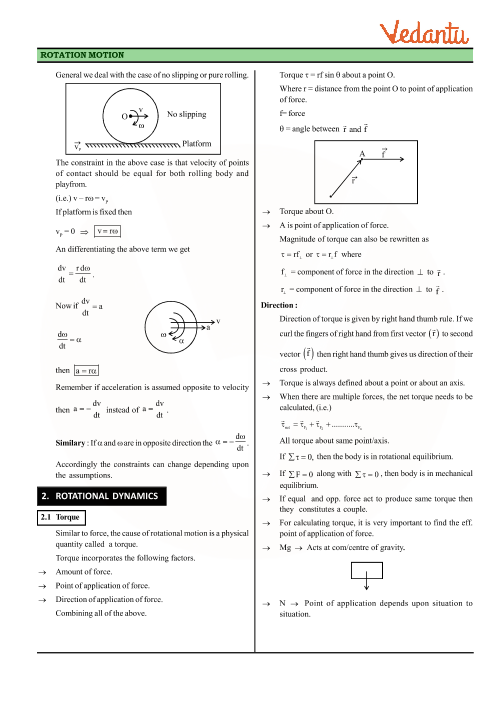 Class 11 Physics Revision Notes for Chapter 7 - Systems of Particles