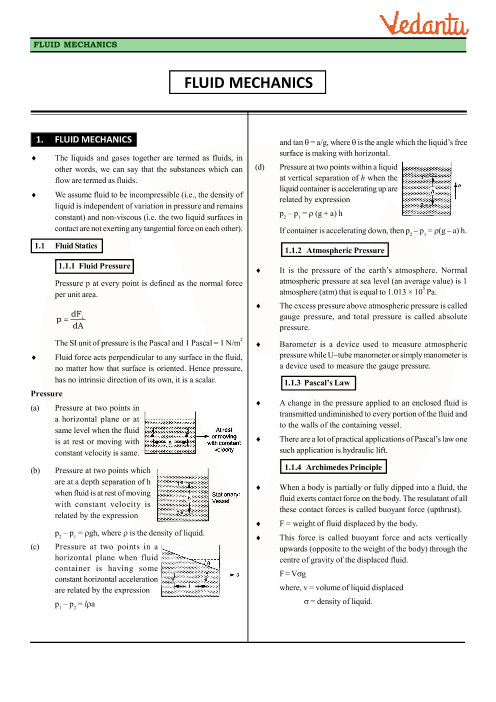 Class 11 Physics Revision Notes for Chapter 10 - Mechanical