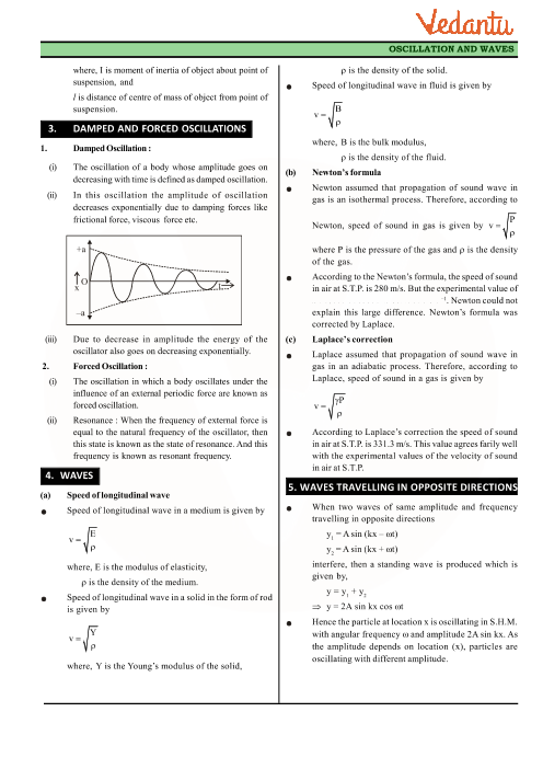 Class 11 Physics Revision Notes for Chapter 14 - Oscillations