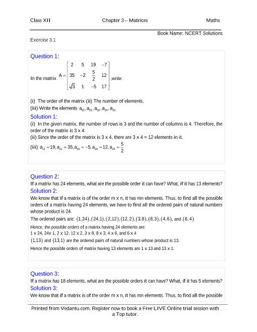 12 Maths Solution Book