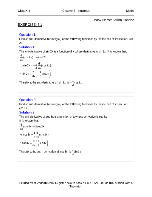 NCERT Books Free Download for Class 12 Maths Chapter-7 Integrals
