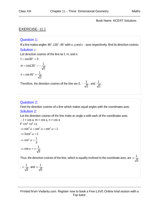 NCERT Solutions for Class 12 Maths Chapter 11 part-1