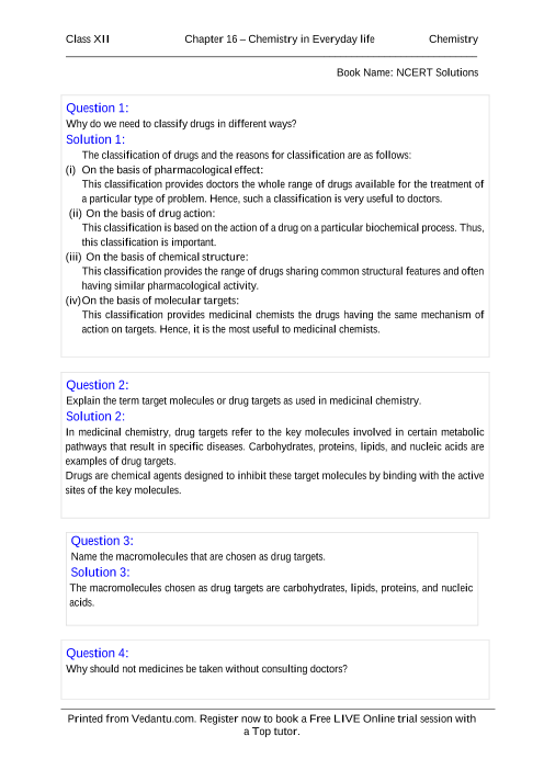 NCERT Solutions for Class 12 Chemistry Chapter 16 part-1