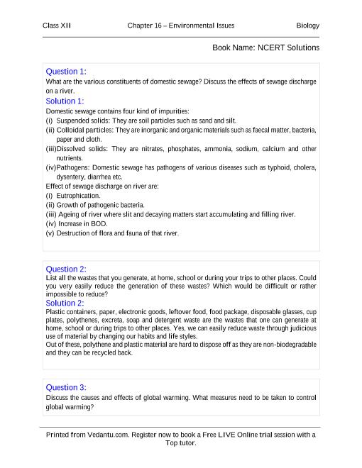 NCERT Solutions for Class 12 Biology Chapter 16 part-1