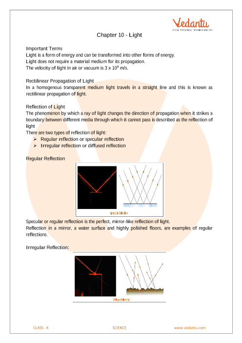 CBSE Class 10 Science Chapter 10 - Light Reflection and
