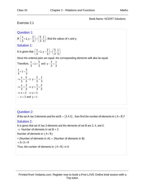 NCERT Solutions for Class 11 Maths Chapter 2 part-1