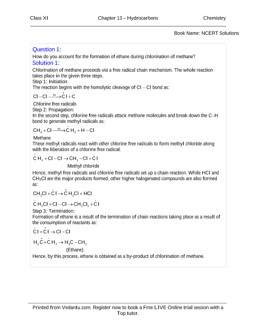NCERT Solutions for Class 11 Chemistry Chapter 13 part-1
