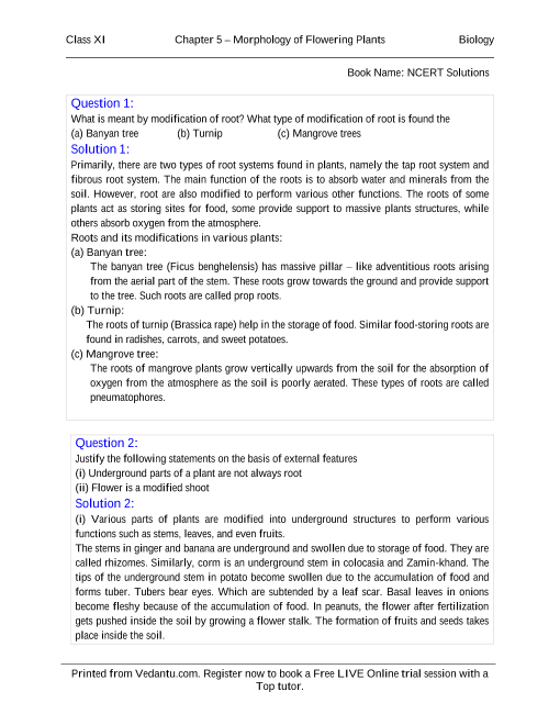 NCERT Solutions for Class 11 Biology Chapter 5 part-1