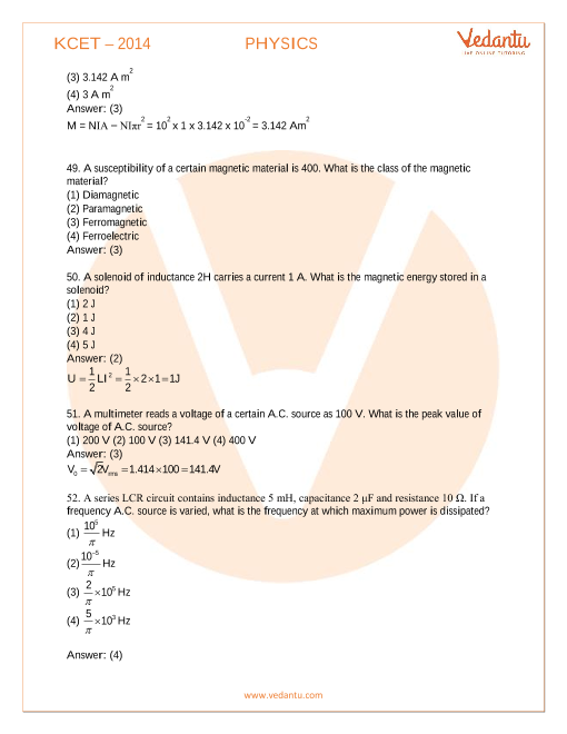 KCET 2014 Previous Year Question Paper for Physics - Free PDF Download