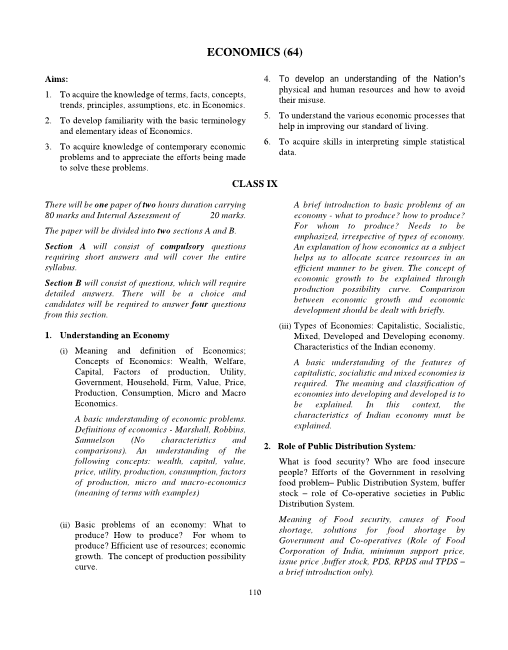 14.ICSE Class 9 Economics Syllabus part-1