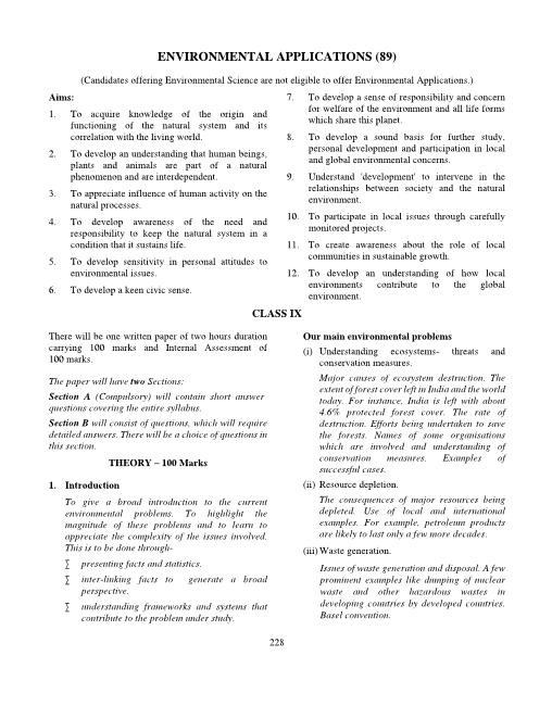 30.ICSE Class 9 Environmental Applications Syllabus part-1