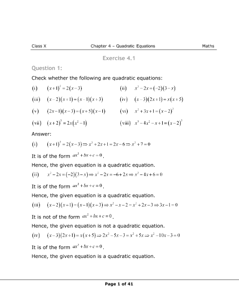 NCERT Books Free Download for Class 10 Maths Chapter 4