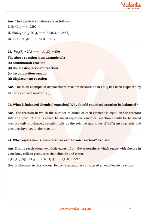Important Questions for CBSE Class 10 Science Chapter 1