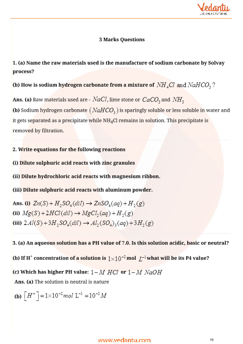 Important Questions for CBSE Class 10 Science Chapter 2