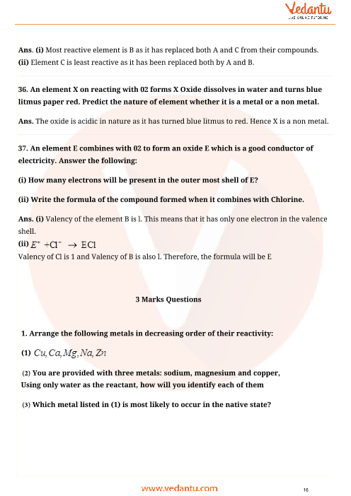 Important Questions for CBSE Class 10 Science Chapter 3