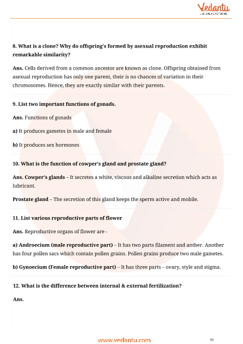 Important Questions for CBSE Class 10 Science Chapter 8