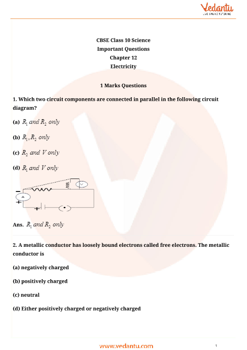 Important Questions for Class 10 Science Chapter-12 part-1