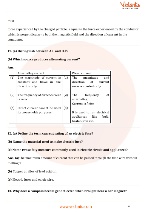 Important Questions for CBSE Class 10 Science Chapter 13