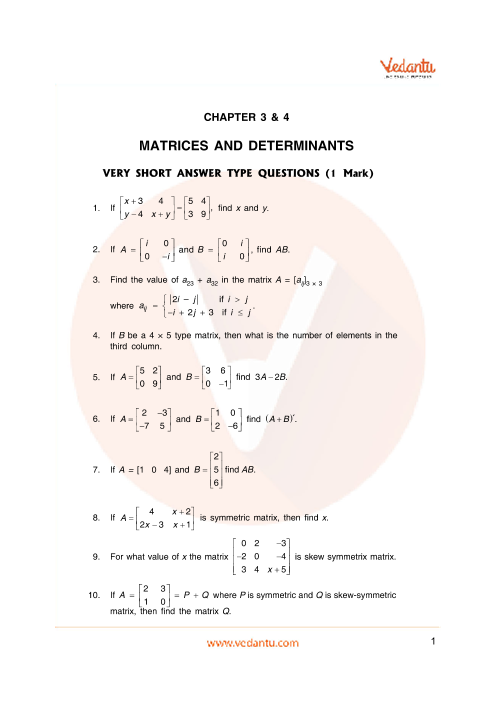 Important Questions for CBSE Class 12 Maths Chapter 3 - Matrices