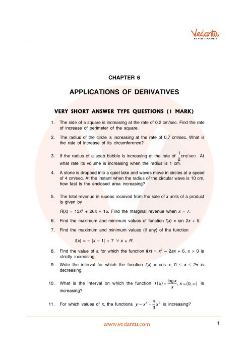 Important Questions Class 12 Maths Chapter 6 part-1