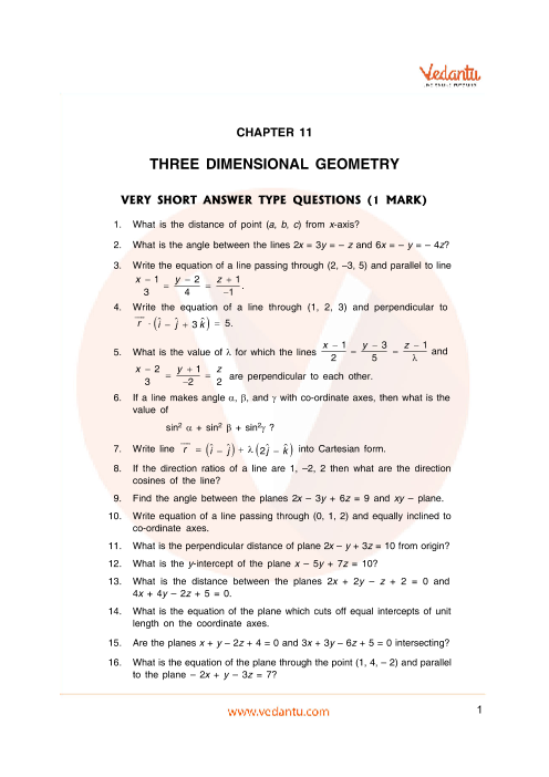 Important Questions Class 12 Maths Chapter 11 part-1