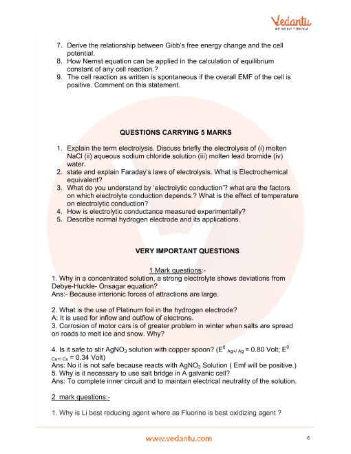Important Questions for CBSE Class 12 Chemistry Chapter 3