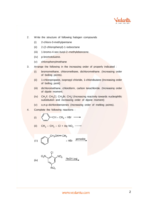 Important Questions for CBSE Class 12 Chemistry Chapter 10