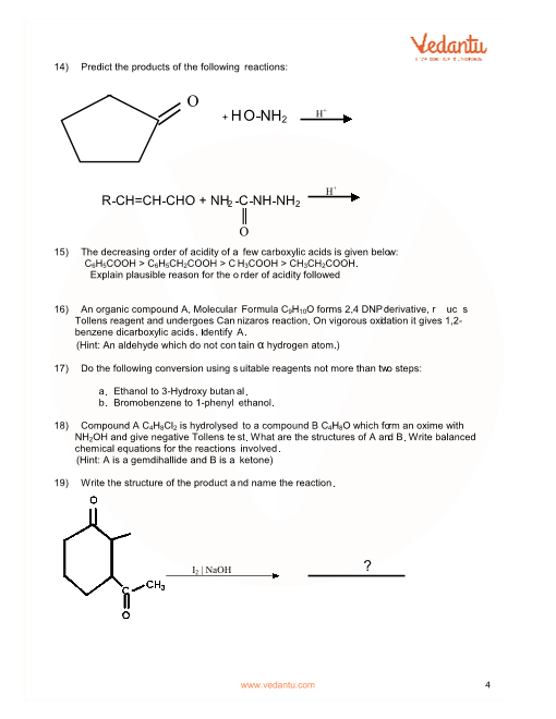Important Questions for CBSE Class 12 Chemistry Chapter 12