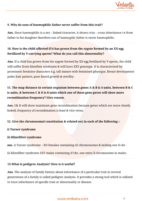 Important Questions for CBSE Class 12 Biology Chapter 5
