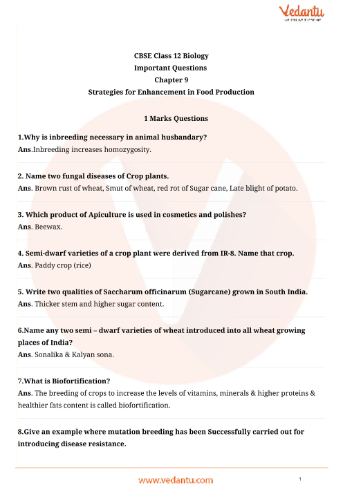 Important Questions for CBSE Class 12 Biology Chapter 9 - Strategies