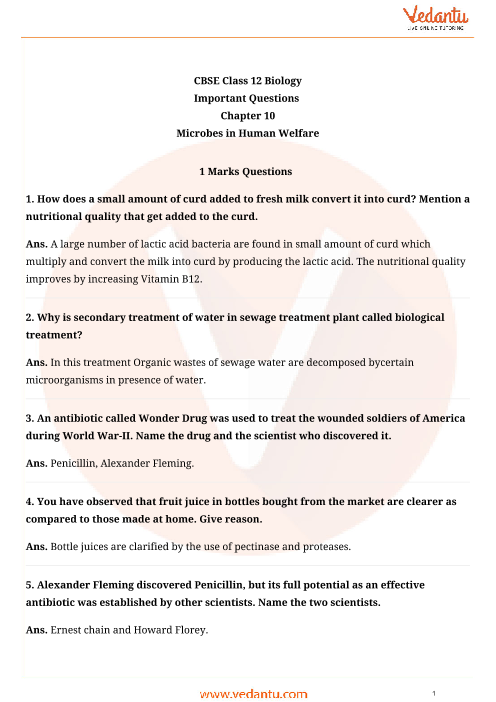 Important Questions for CBSE Class 12 Biology Chapter 10 - Microbes