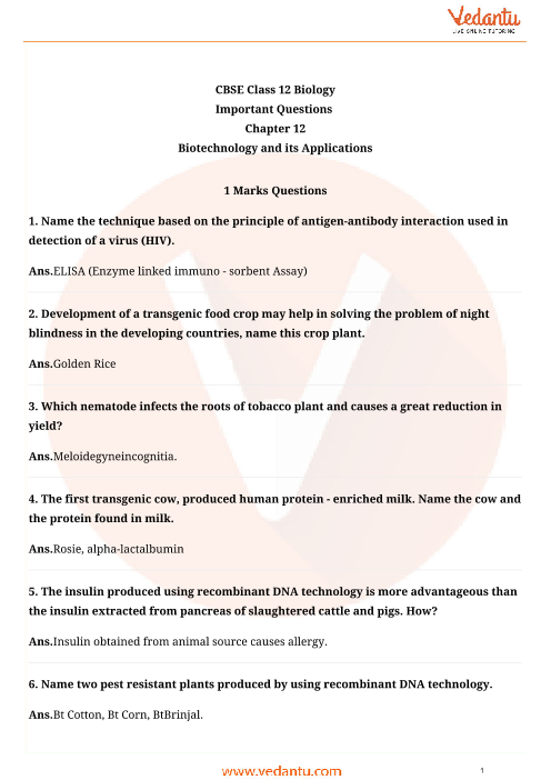 Important Questions for CBSE Class 12 Biology Chapter 12