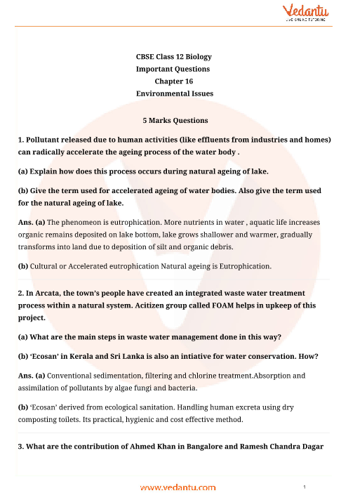 Important Questions for CBSE Class 12 Biology Chapter 16