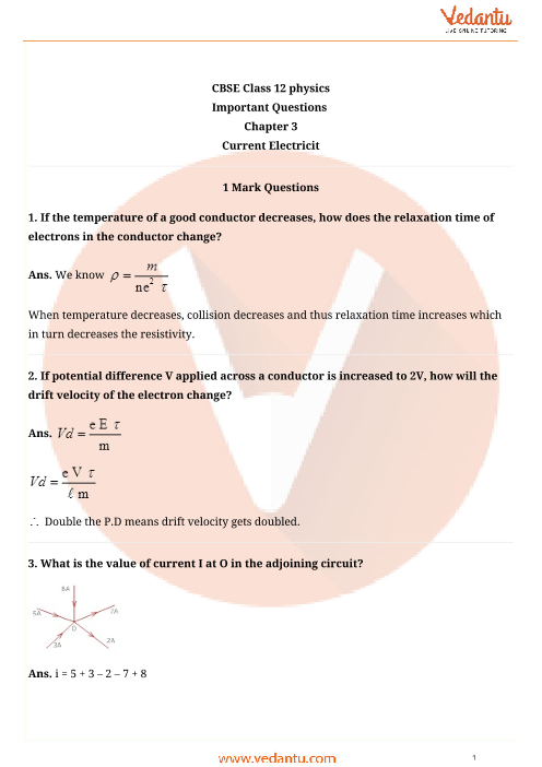 Important Questions for CBSE Class 12 Physics Chapter 3