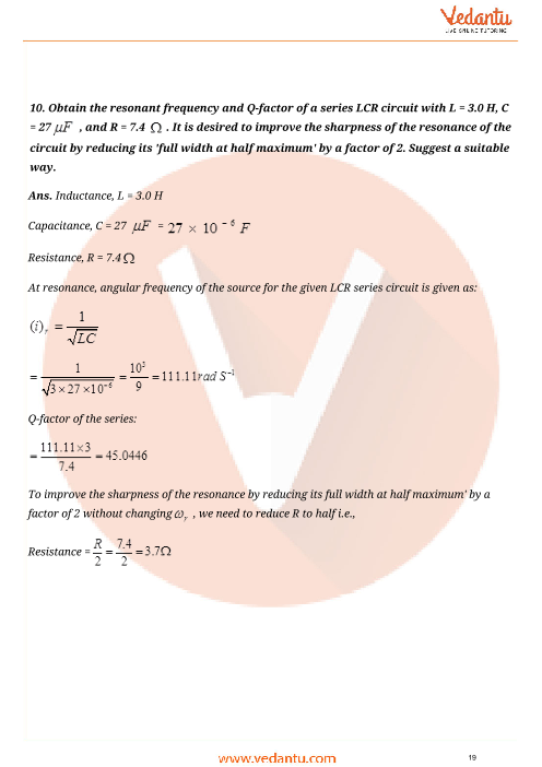 Important Questions for CBSE Class 12 Physics Chapter 7