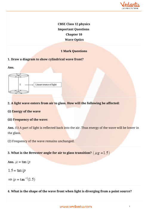 Important Questions for CBSE Class 12 Physics Chapter 10