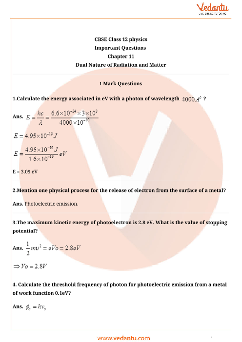 Important Questions for CBSE Class 12 Physics Chapter 11