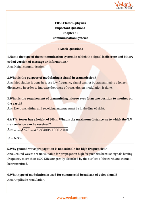 Important Questions for CBSE Class 12 Physics Chapter 15