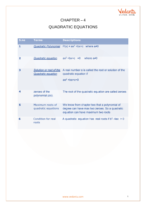 CBSE Class 10 Maths Chapter 4 - Quadratic Equations Formula