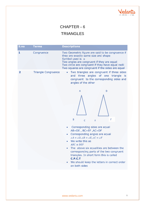 CBSE Class 10 Maths Chapter 6 - Triangles Formula