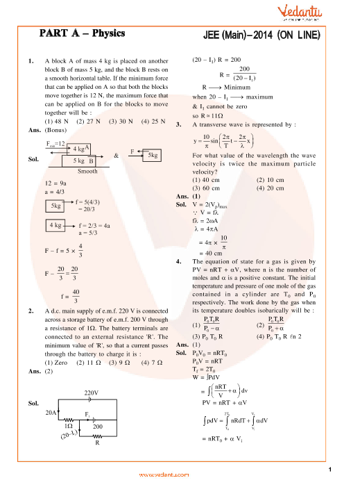JEE Main Physics Question Paper with Answer Keys - Online