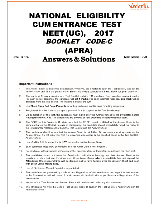 NEET 2017 Question Paper code-C with Solutions part-1
