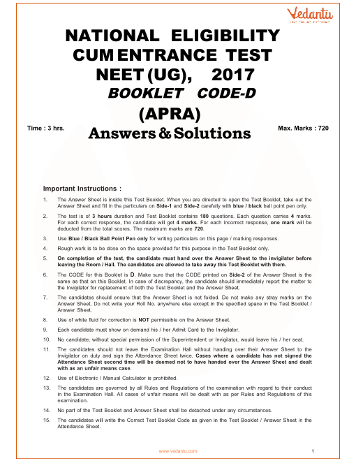 NEET 2017 Question Paper code-D with Solutions part-1