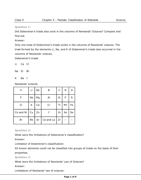 NCERT Solutions for Class 10 Science Chapter 5 part-1