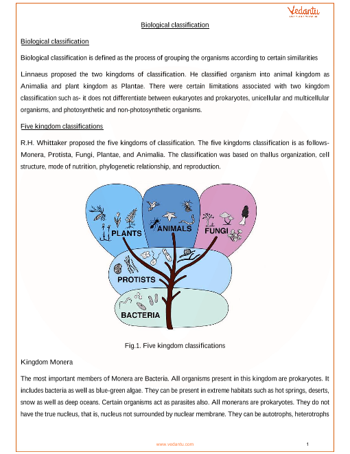 CBSE Class 11 Biology Chapter 2 - Biological Classification