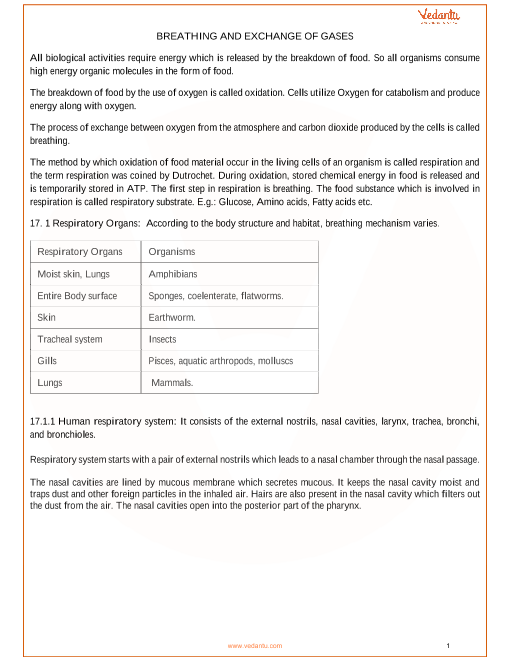 CBSE Class 11 Biology Chapter 17 - Breathing and Exchange of