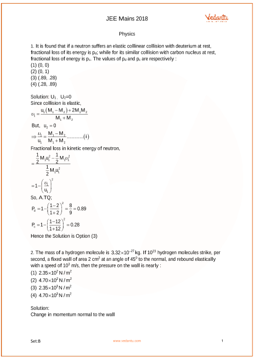 JEE Main 2018 Set-B Question Paper with Answer Keys - Free PDF Download