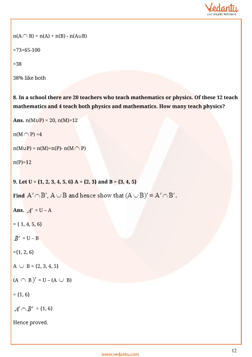 Important Questions for CBSE Class 11 Maths Chapter 1 - Sets