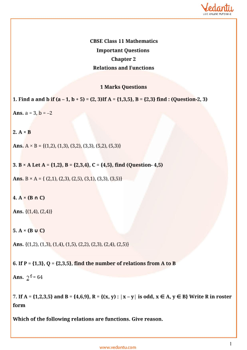 Important Questions for CBSE Class 11 Maths Chapter 2 - Relations ...