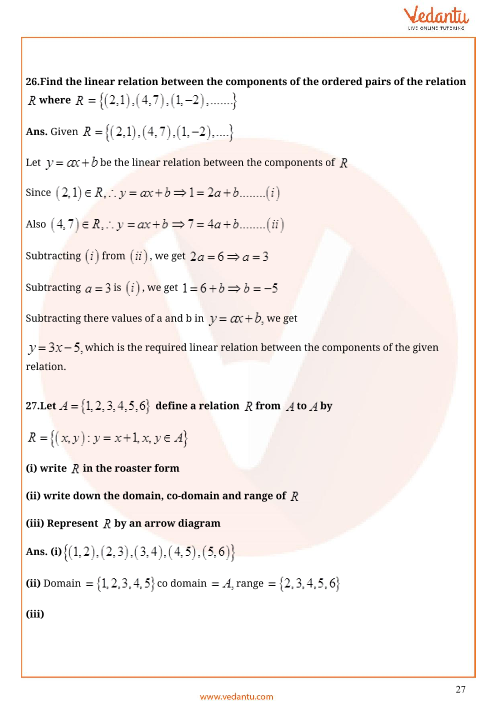 Important Questions for CBSE Class 11 Maths Chapter 2 - Relations